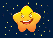 Angry Star Cartoon Character Illustration. With Night Scene Stock Photos