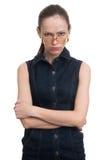 Angry strange nerd girl. Isolated on white background royalty free stock photos