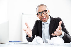 Angry stressed businessman shouting at camera Stock Photos