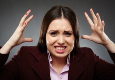 Angry stressed businesswoman Stock Image
