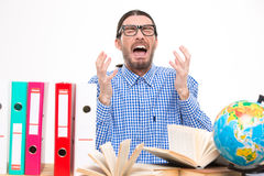 Angry stressed man screamin with hands up Stock Images