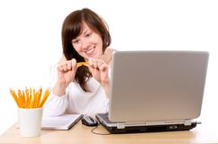 Angry stressed office worker, breaking pencil Royalty Free Stock Images