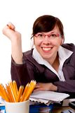 Angry, stressed office worker, isolated Stock Images