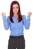 Angry and stressed redhead female, isolated Royalty Free Stock Photography