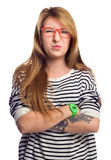Angry strict woman wears glasses, grimace portrait Royalty Free Stock Photos