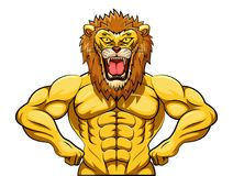 Angry strong lion mascot Royalty Free Stock Photos
