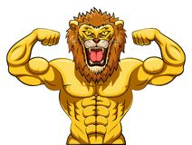 Angry strong lion mascot Royalty Free Stock Photo