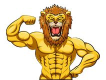 Angry strong lion mascot. Illustration Stock Photos