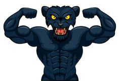 Angry strong panther mascot Stock Photo