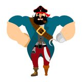 Angry strong pirate. Powerful big buccaneer. Vector illustration Royalty Free Stock Image