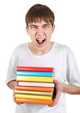 Angry Student with a Books Stock Photography