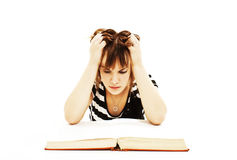 Angry student girl with learning difficulties Stock Photo