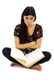 Angry student girl with learning difficulties Royalty Free Stock Photo