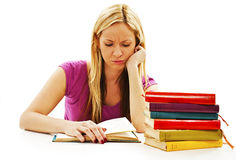 Angry student girl with learning difficulties Royalty Free Stock Images