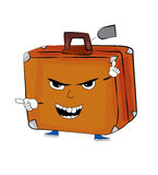 Angry suitcase cartoon Royalty Free Stock Photography