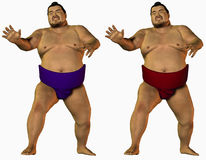 Angry sumo wrestlers Stock Images