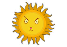 Angry Sun Cartoon Character Royalty Free Stock Photos