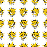 Angry sun seamless pattern Stock Photography
