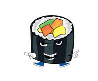 Angry sushi cartoon Stock Photography