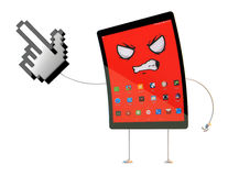 Angry Tablet cartoon character pointing at invisible object. 3D illustration. Contains clipping path Royalty Free Stock Photography