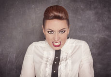 Angry teacher on the blackboard background. Angry teacher on the school blackboard background royalty free stock photo