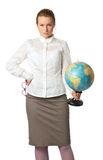 Angry teacher with globe Stock Image