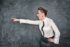 Angry teacher pointing out Stock Photography