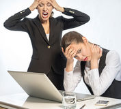 Angry teacher and resentful student Stock Photo