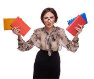 Angry teacher woman in glasses with books isolated on white back. Ground Royalty Free Stock Images