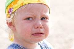 Angry tears. Close-up picture of a cute baby girl in angry tears Stock Photography