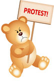 Angry Teddy Bear with Placard Protest Royalty Free Stock Photography