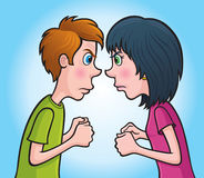 Angry Teen Boy and Girl Staring. Cartoon illustration of a teen boy and girl staring at each other with angry faces and clenched fists Royalty Free Stock Image