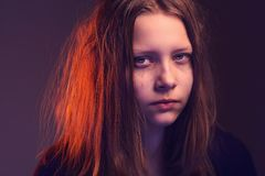 Angry teen girl Stock Photo