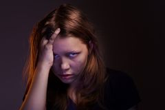 Angry teen girl Stock Image