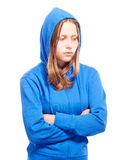 Angry teen girl in poor Stock Photography
