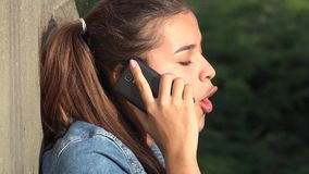 Angry Teen Girl Talking On Cell Phone stock footage