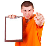 Angry teen man with clipboard Stock Photos