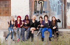Angry teen punks shout at the camera Stock Images