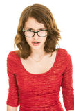 Angry teenage girl in red dress Royalty Free Stock Photography