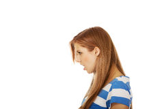Angry teenage woman screaming loud Royalty Free Stock Images