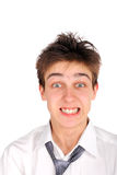 Angry teenager. Nervous teenager isolated on the white Stock Images