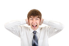 Angry Teenager with Closed Ears Stock Images