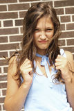 Angry teenager girl royalty free stock photography