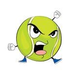 Angry tennis ball cartoon Royalty Free Stock Image