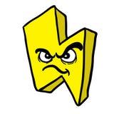 Angry thunderbolt. Cartoon illustration isolated on white Stock Image