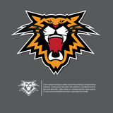 Angry tiger face logo in flat design. Sport emblem on black background. Royalty Free Stock Images