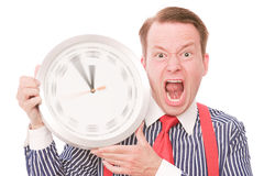 Angry time (spinning watch hands version) Stock Photo