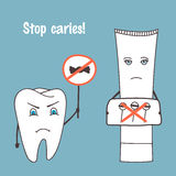 Angry tooth and toothpaste cartoon characters. Stop caries. Oral health, medical theme. Hand drawn vector illustration Stock Photos