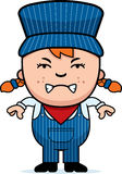 Angry Train Conductor. A cartoon illustration of a girl train conductor looking angry Stock Image