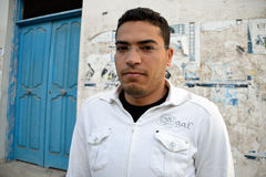 Angry tunisian man. TUNIS, TUNISIA - JAN 22: Angry tunisian man during violent protests on the street of Tunis. January 22, 2010 in Tunis, Tunisia Stock Photo